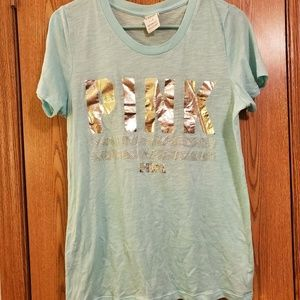 Teal and Gold PINK t-shirt